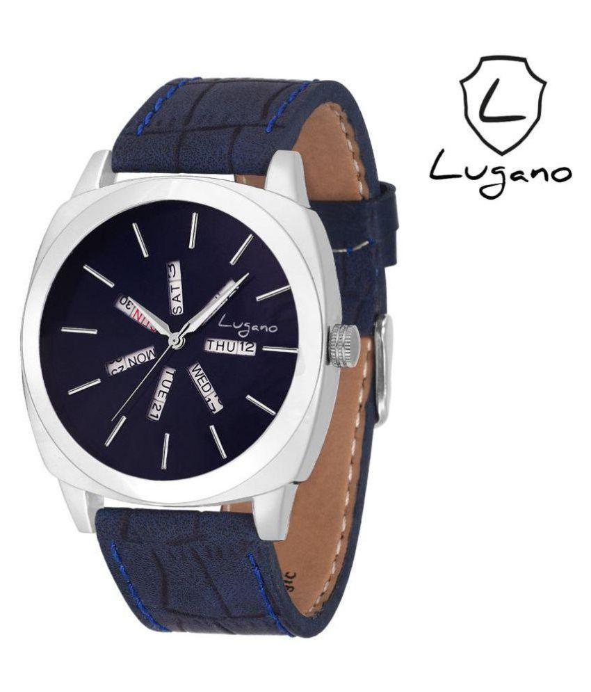 Lugano 1043 Leather Analog Men's Watch