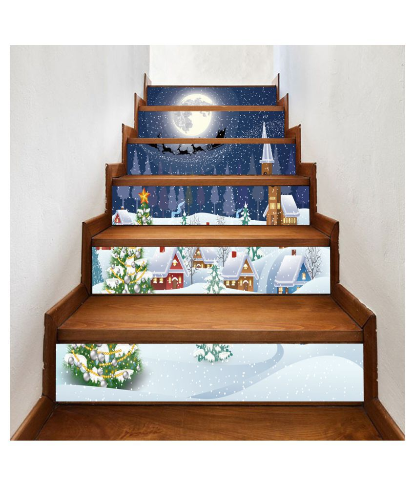 Christmas 25D Simulation stair stickers Waterproof Wall Stickers