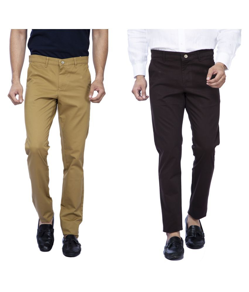 GREEN SIGNAL Multicolored Slim -Fit Flat Chinos