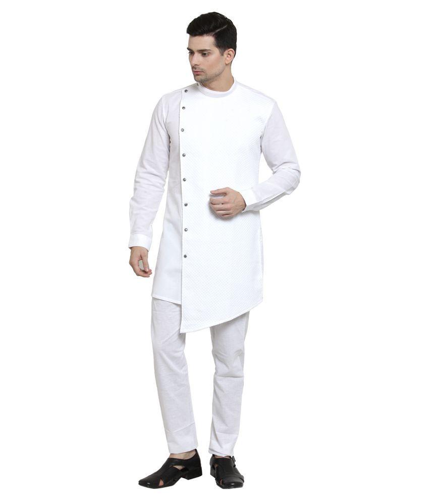 RG Designers White Cotton Kurta Pyjama Set Pack of 1