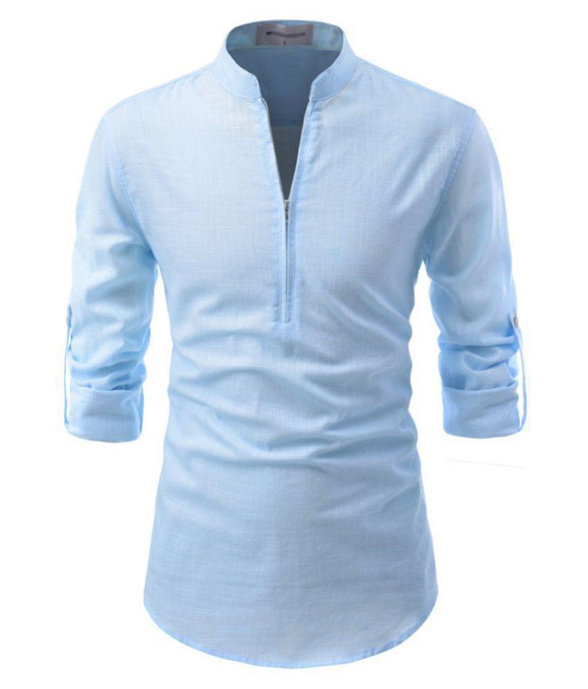 Vida Loca 100 Percent Cotton Blue Solids Shirt