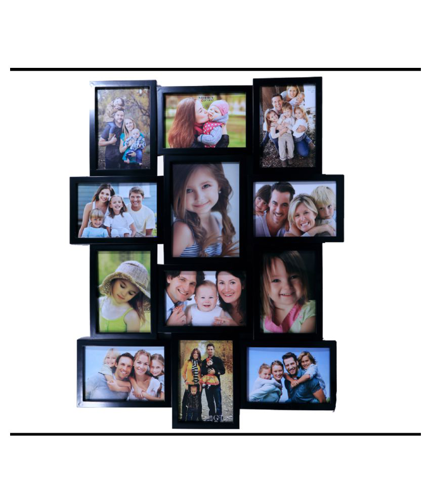 Meera Plastic Wall Hanging Black Collage Photo Frame - Pack of 1