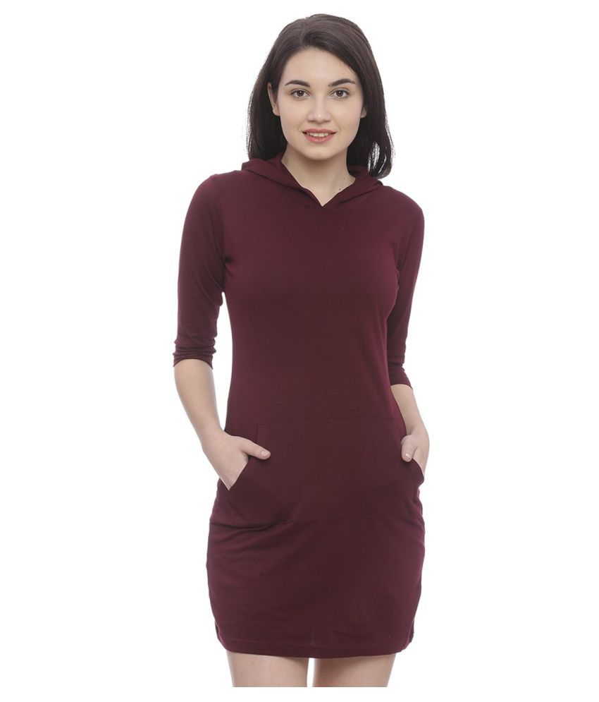 Bombay Clothing Company Cotton Maroon Regular Dress