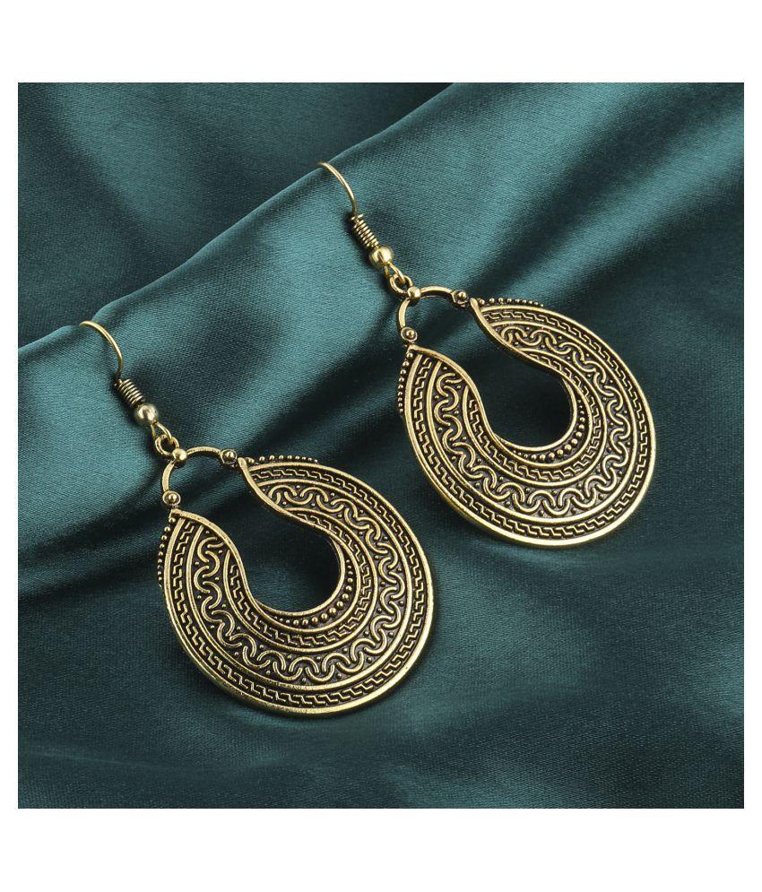 Silver Shine Elite Golden Round Egyptian Work Earrings for Women