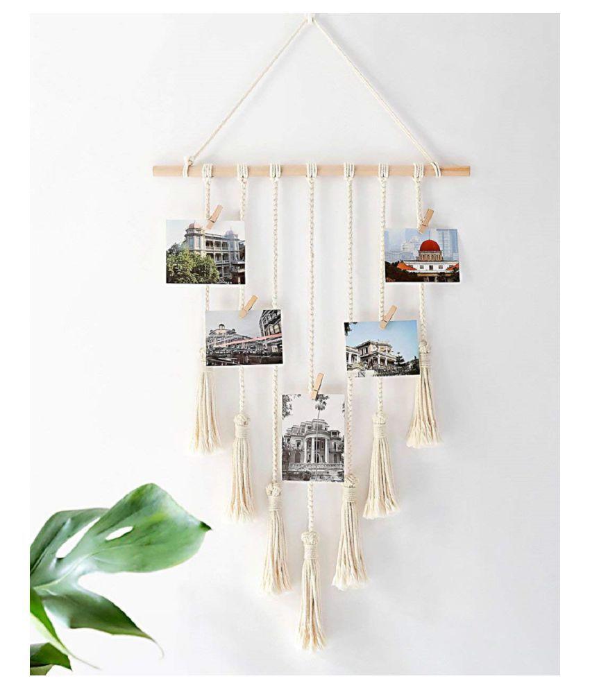 VAH VAH Hanging Photo Display Macrame Wood Photographs Without Frame