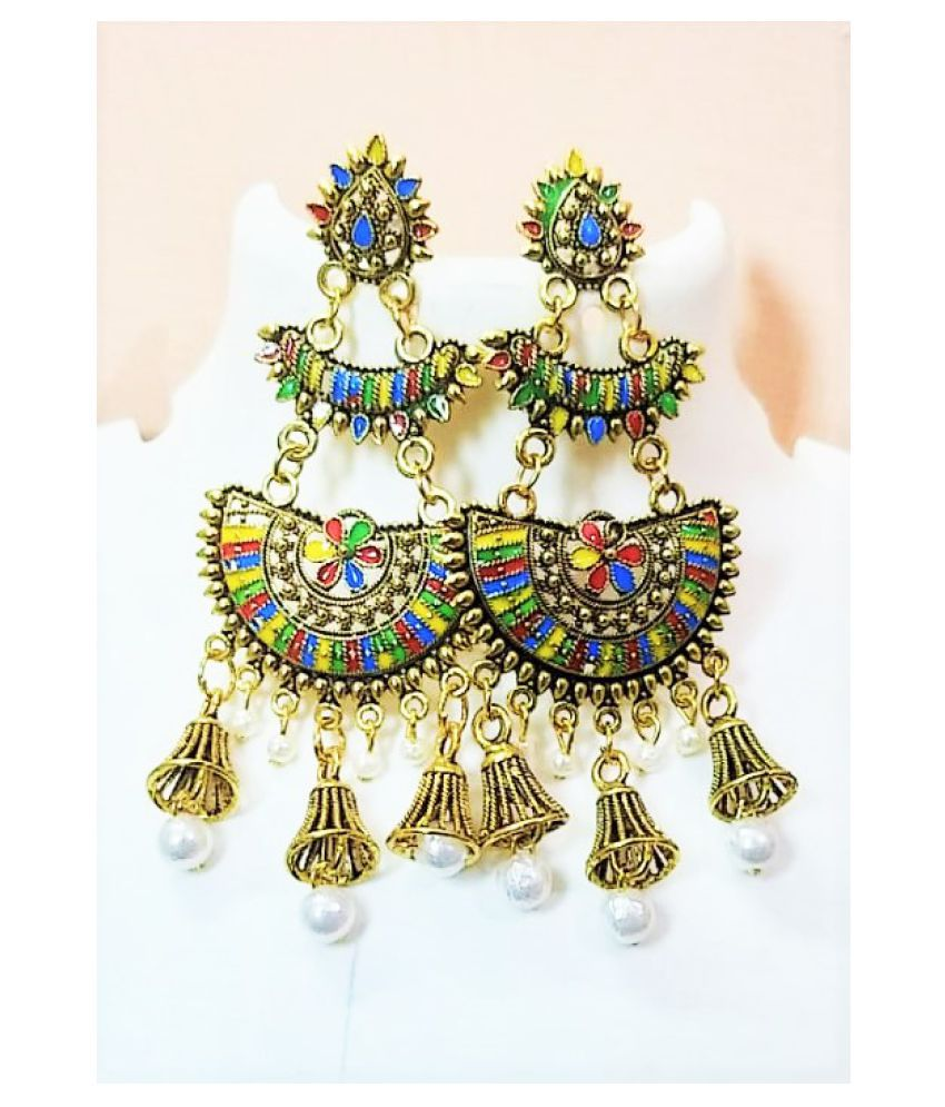 Stylish Designer Colorful Gold Plated Earrings for women