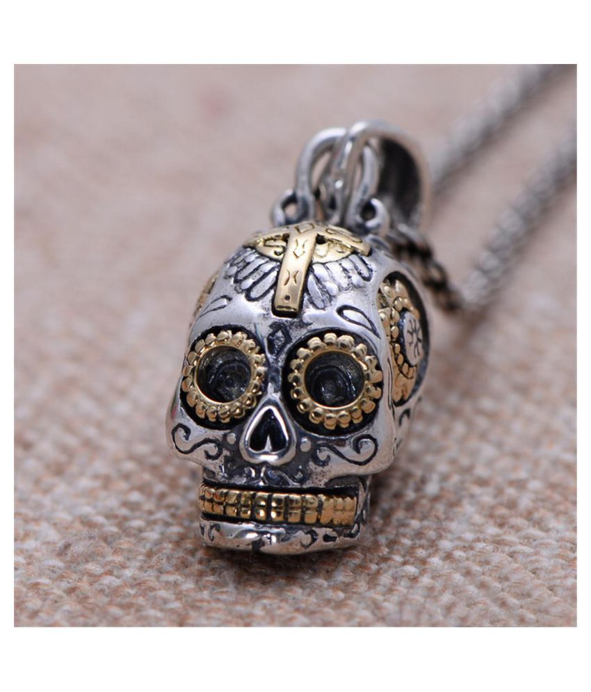 925 Sterling Silver Gothic Sugar Skull Skeleton Split Pendant Necklace (Fashion Jewellery)