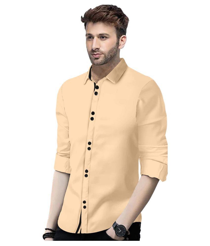 SUR-T 100 Percent Cotton Beige Solids Shirt