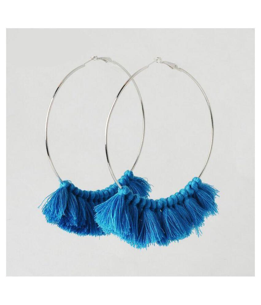 Super Big Circles Hoop Silk Earrings Tassel Earrings