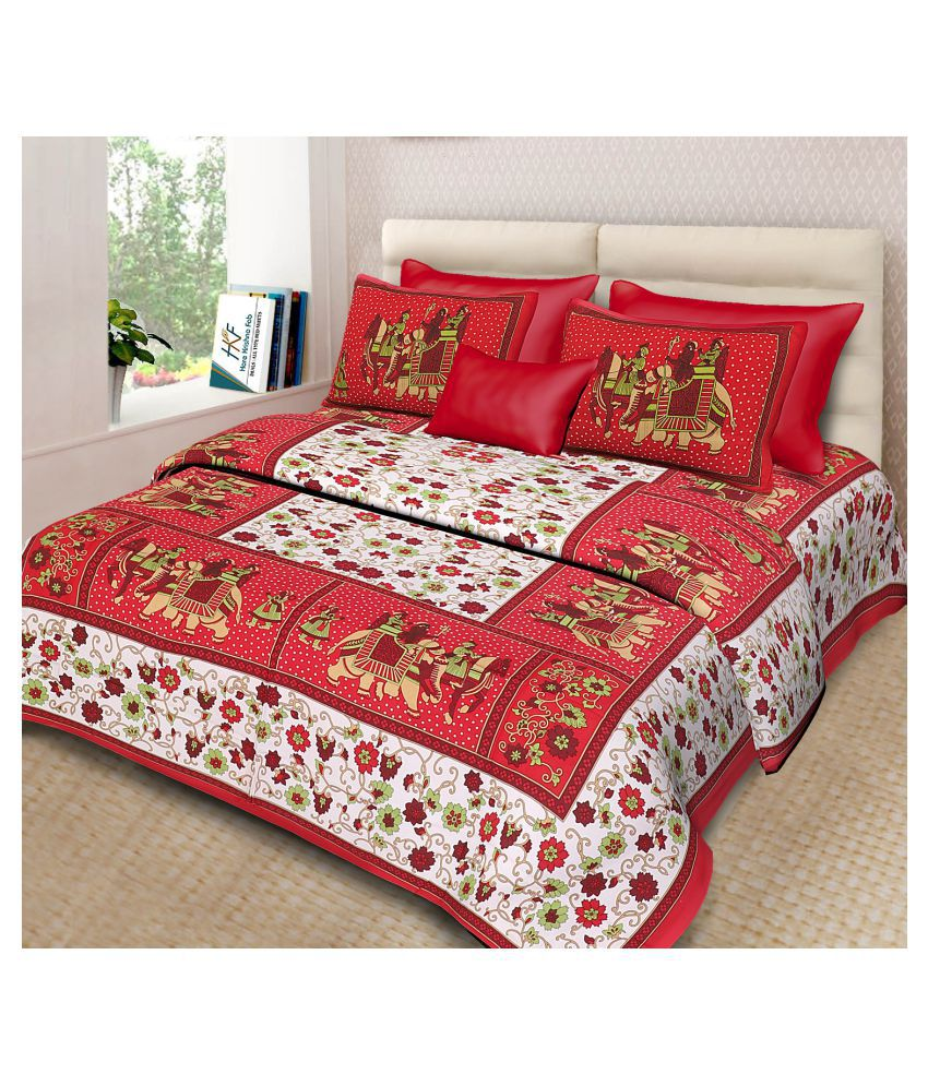 hkf Cotton Double Bedsheet with 2 Pillow Covers