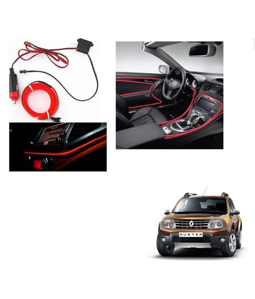 Auto Addict Red Color 12V 5Mtrs Roll Cold Light Car Socket Strip Neon Lamp Creator Decor Dashboard Interior Lighting For Renault  Duster