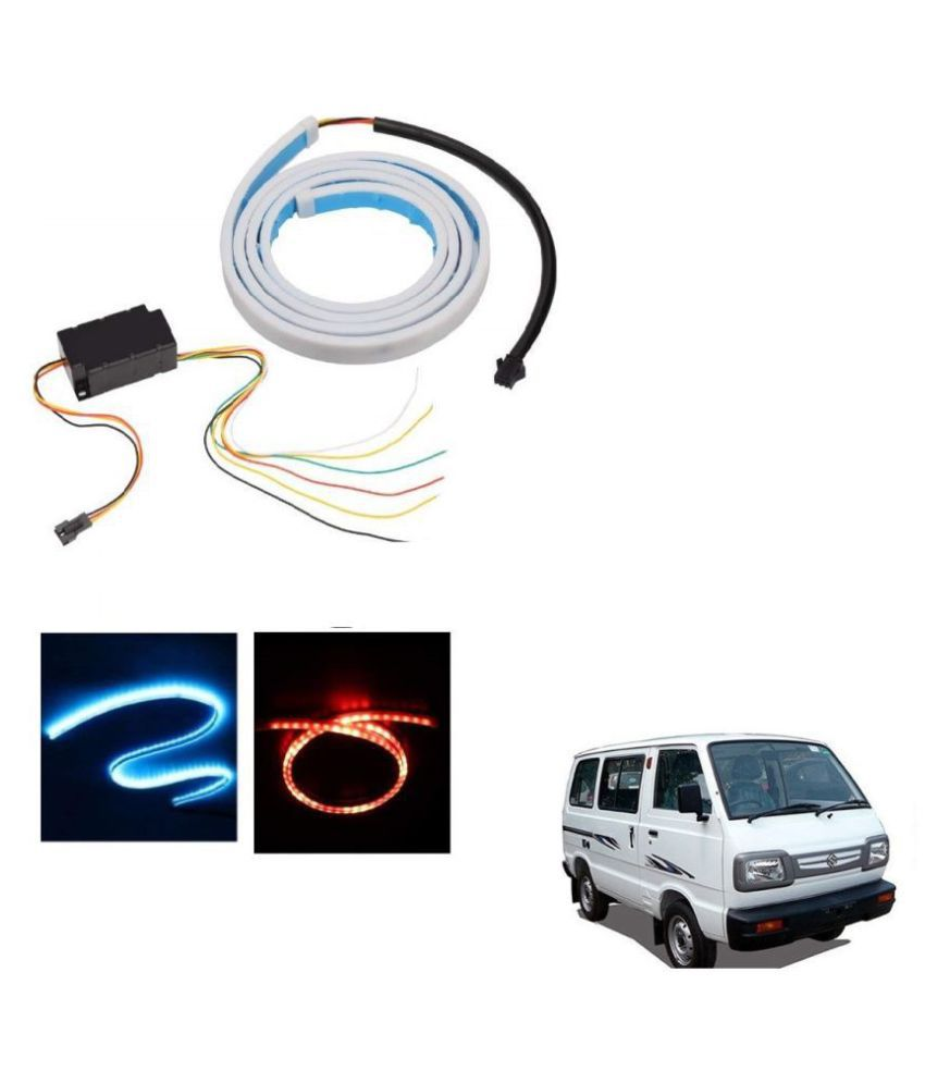 Auto Addict LED Dicky Light Ice Blue & Red DRL Brake with Side Turn Signal & Parking Indication Dicky, Trunk, Boot Strip Light For Maruti Suzuki Omni