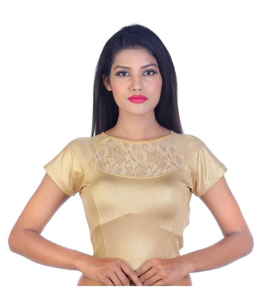 Pagazo Beige Lycra Readymade without Pad Blouse