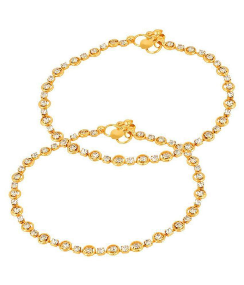 Anklets (Payal) Gold And White Colored For Women & Girls