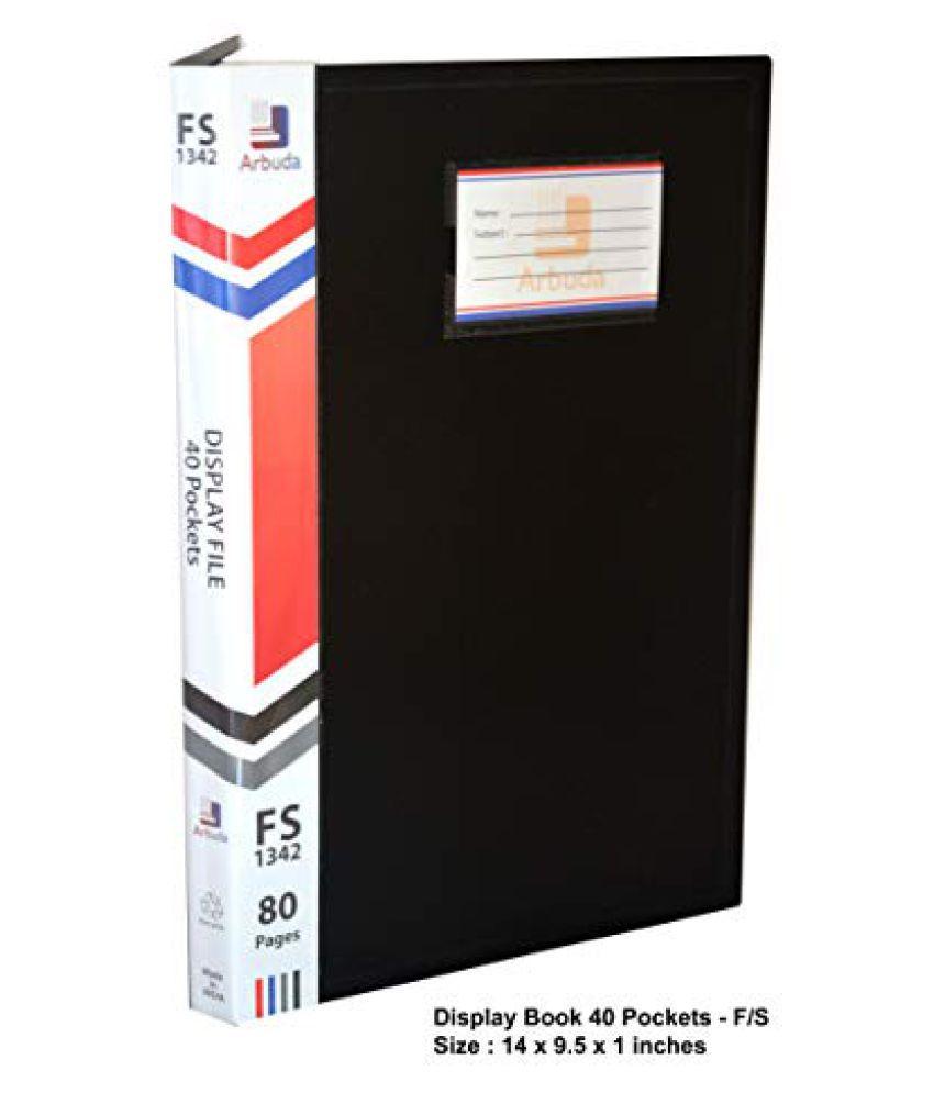 Arbuda Display Book 40 Pockets Clear Folder Plastic File Display Presentation Book 40 Pockets(Black Colour) F/S Size Qty 1 no.