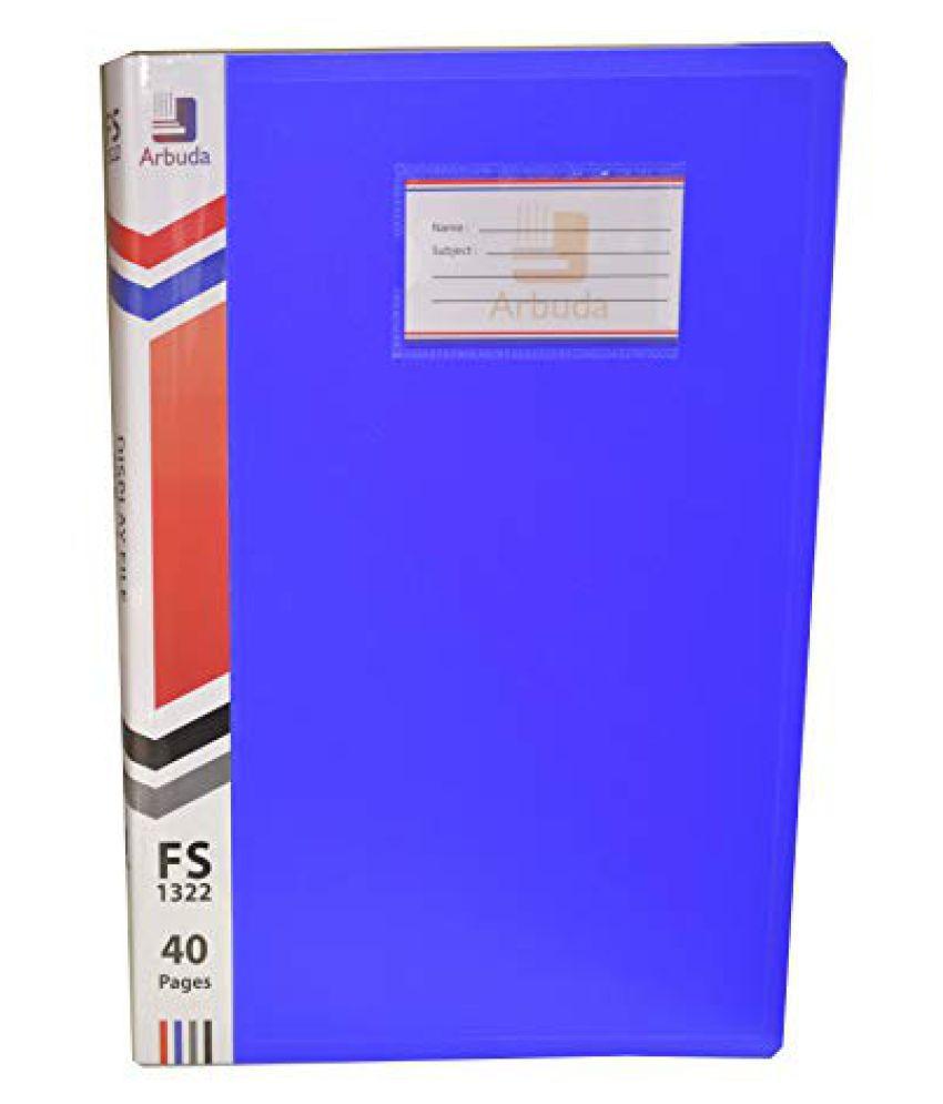 Display Book Arbuda Clear Folder Plastic File Display Presentation File 20 Pockets Blue Colour Pack of 4 nos. F/S