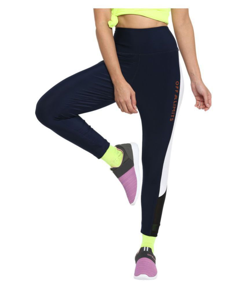 OFF LIMITS Navy Polyester Color Blocking Tights