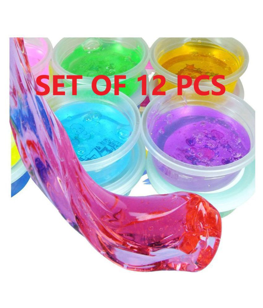 Crystal Clay Soft Slime Transparent Magic Mud Non Toxic | Pack of 12 Assorted Colours