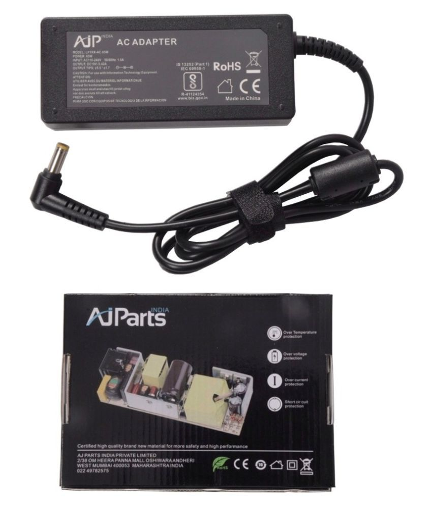 AJP India Laptop adapter compatible For Acer Aspire 3608 5000 65W 19V 3.42A Power Supply Charger - Yellow Tip