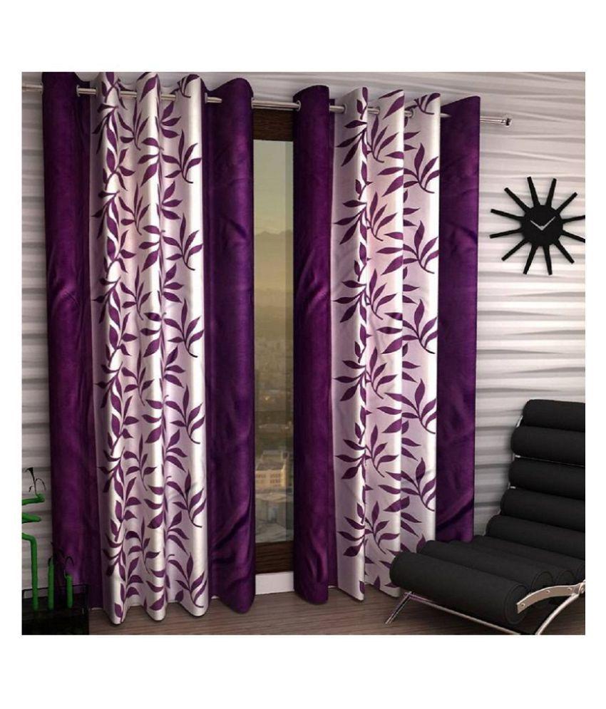 Tanishka Fabs Set of 2 Door Semi-Transparent Eyelet Polyester Curtains Purple