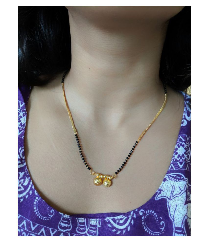 Women's Jewellery Gold Plated Mangalsutra Necklace 18-Inches Length Chain Golden Vati Tanmaniya Pendant Traditional Black& Gold Beads Single Line Layer Short Mangalsutra For Women and Girl