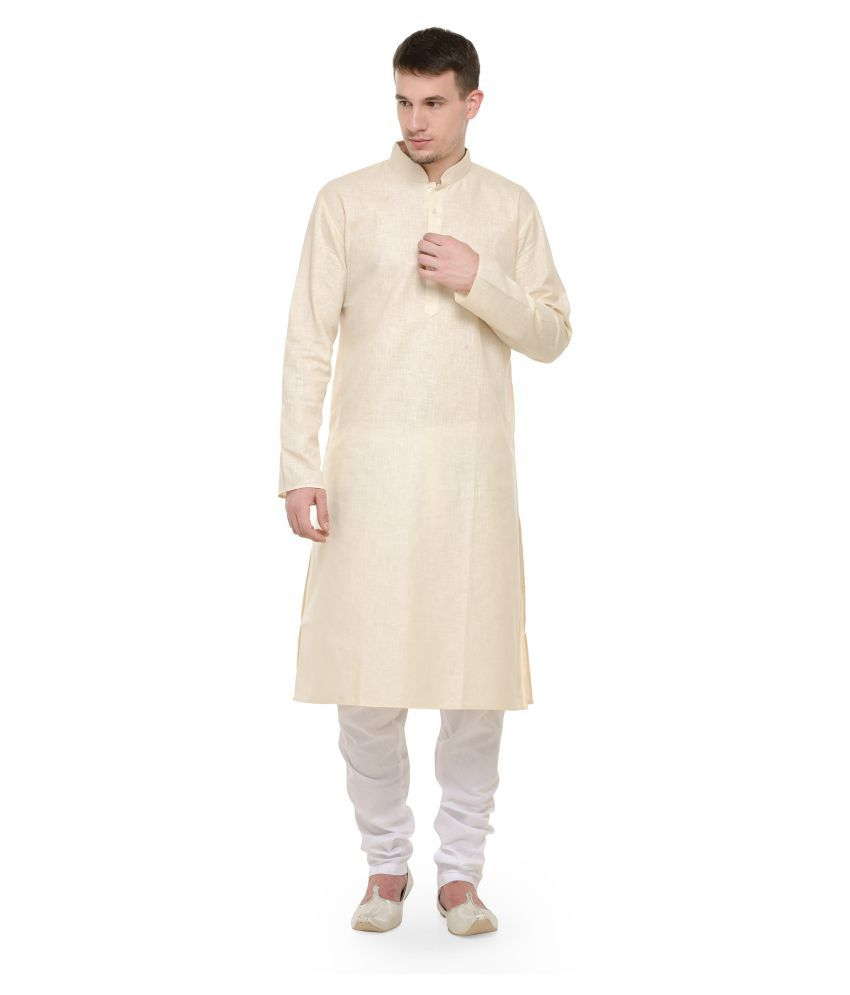 RG Designers Beige Cotton Kurta Pyjama Set