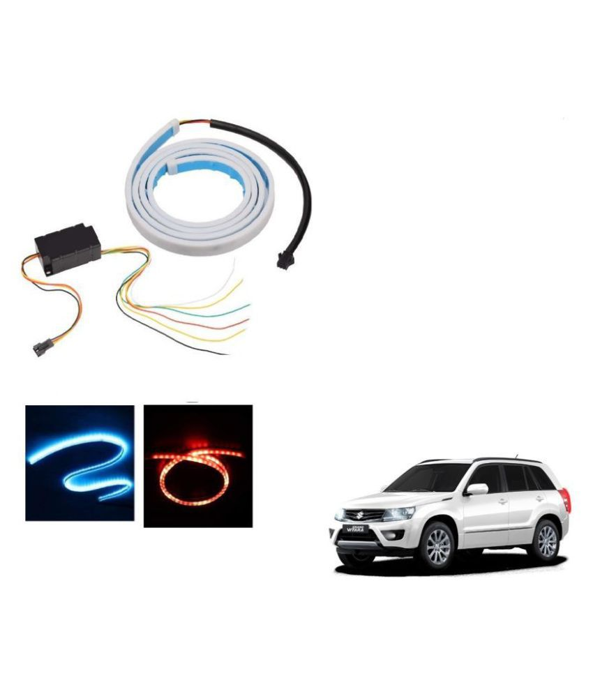 Auto Addict LED Dicky Light Ice Blue & Red DRL Brake with Side Turn Signal & Parking Indication Dicky, Trunk, Boot Strip Light For Maruti Suzuki Grand Vitara