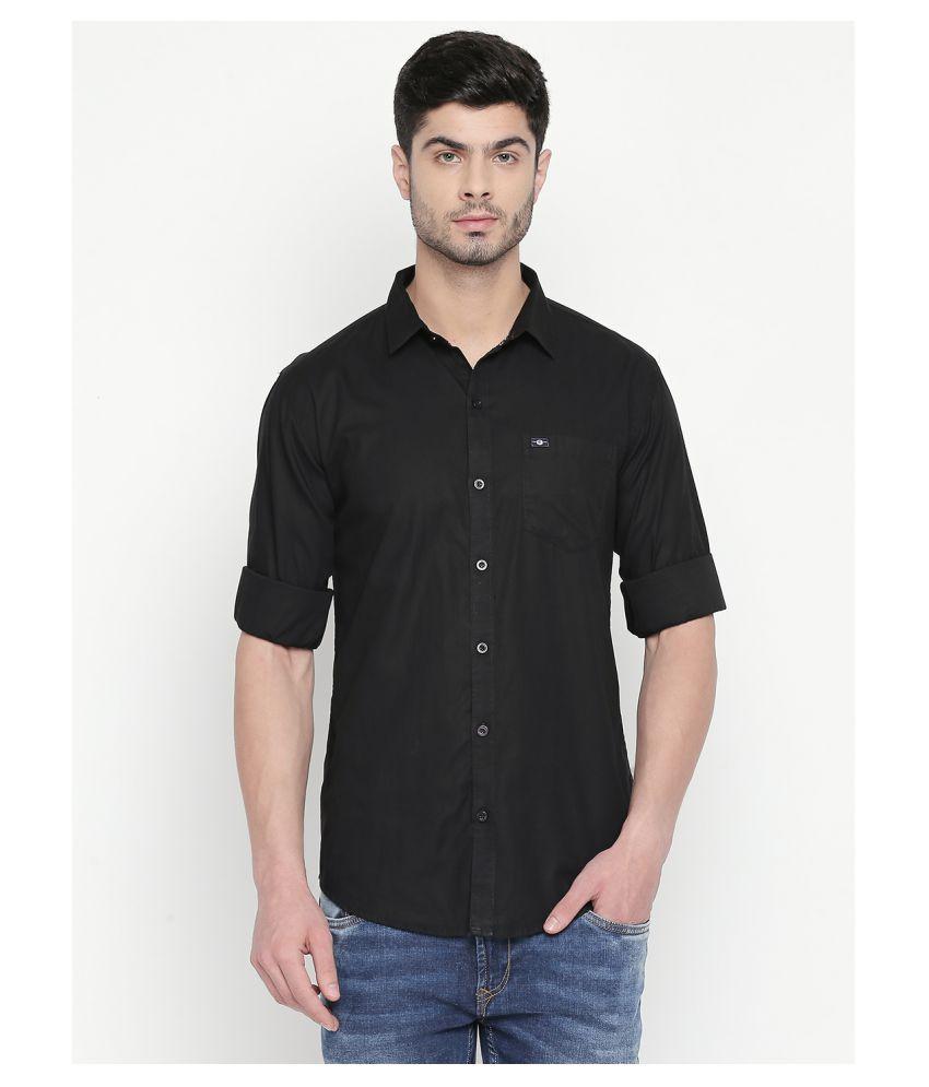 Cotton Fusion 100 Percent Cotton Black Solids Shirt