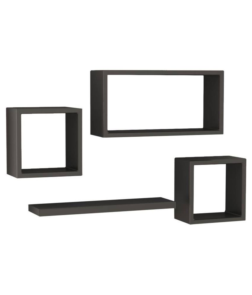 Designer Decorative Black Useful Square Wall Shelf-WS46