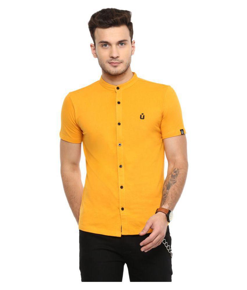 Urbano Fashion 100 Percent Cotton Yellow Solids Shirt