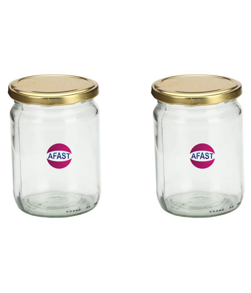 AFAST Transparent Jar Glass Oil Container/Dispenser Set of 2 350 mL