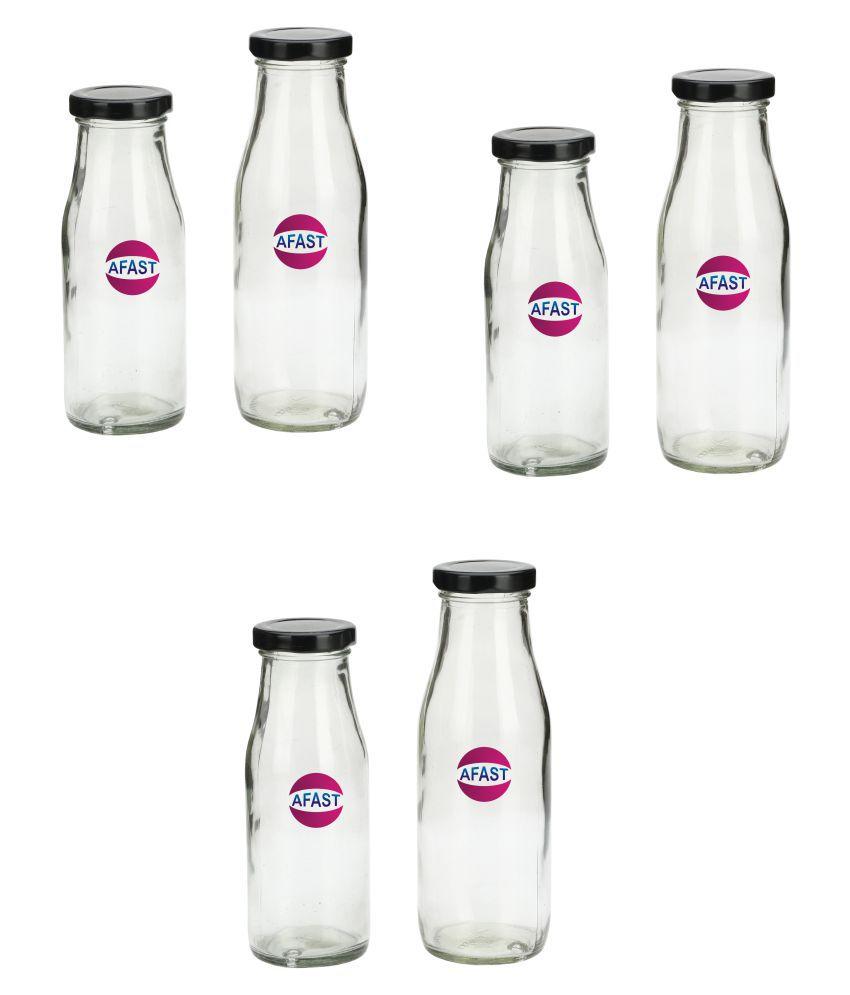 AFAST Transparent Jar Glass Oil Container/Dispenser Set of 6 300 mL