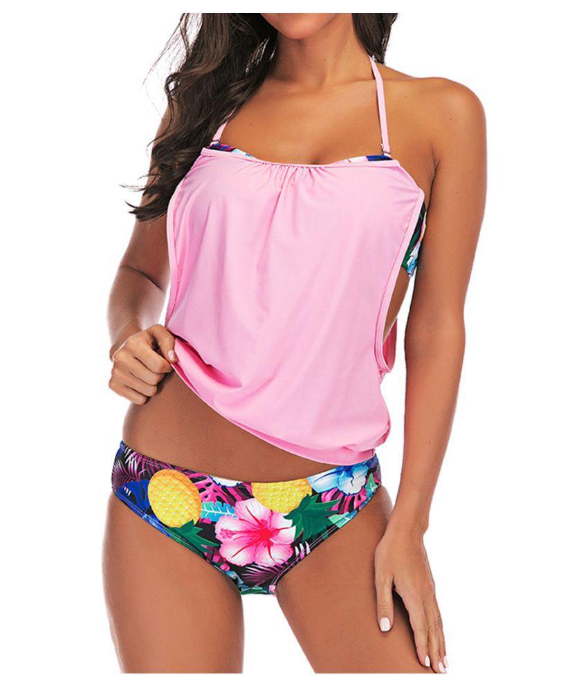 Jchen TM Women Plus Size Tankini Sets Ladies Swimsuit Retro Striped Print Swimdress Bathing Suit with Shorts