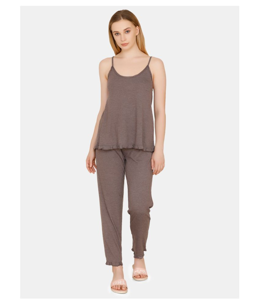 Zivame Polyester Nightsuit Sets - Grey