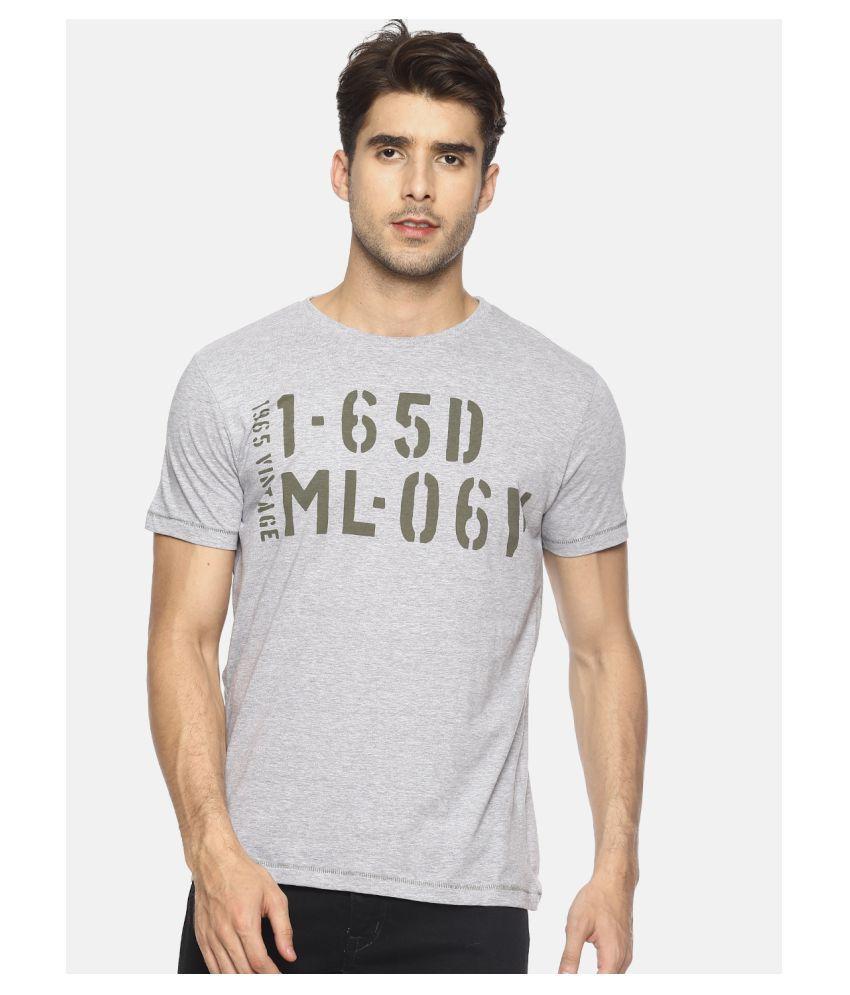 MASCULINO LATINO Cotton Blend Grey Printed T-Shirt