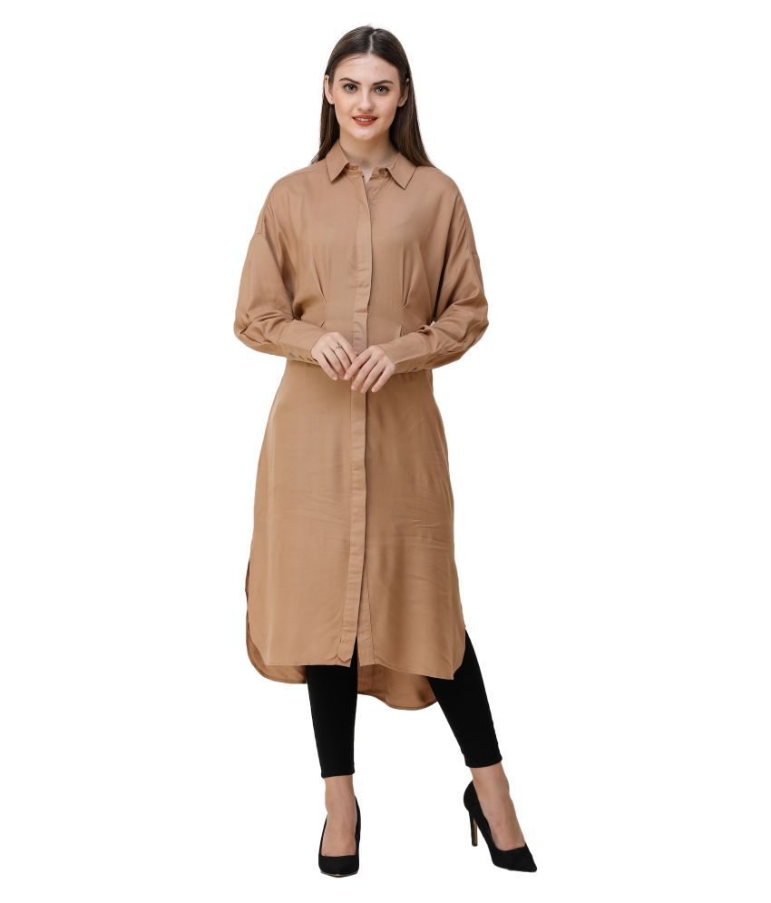 Silk Route London Viscose Brown Fit And Flare Dress