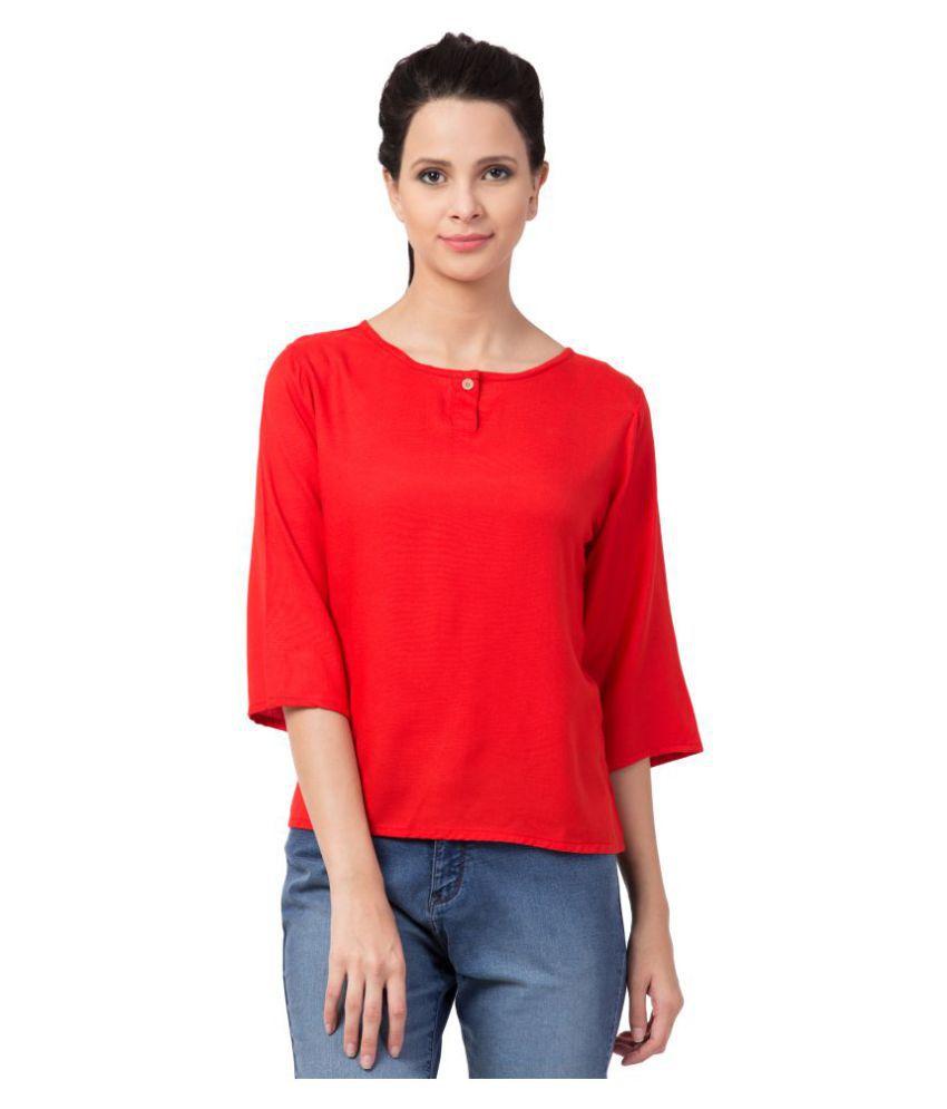 Kissero Rayon Regular Tops - Red