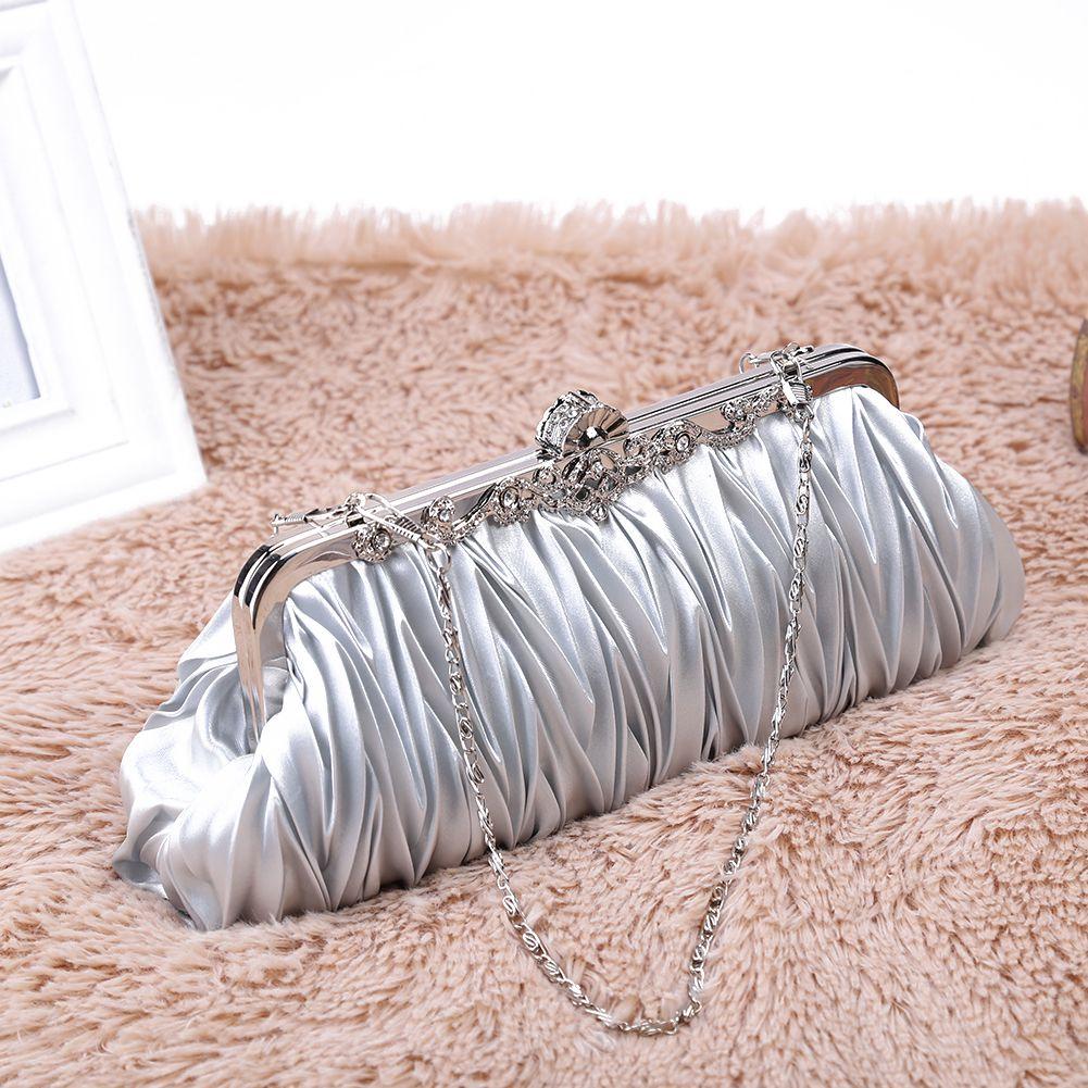 Dazzling Crystal Satin Cocktail Evening Bag Clutch Cocktail Handbag Purse