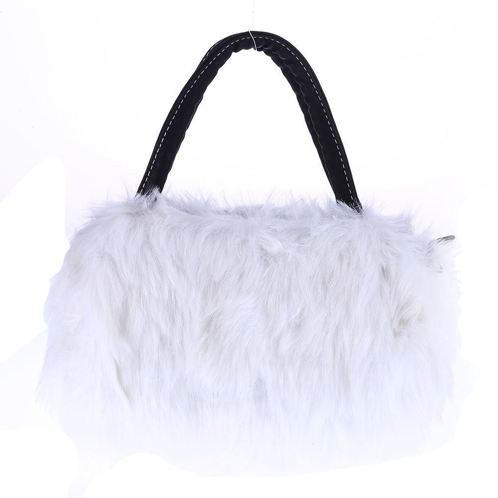 Lady Girl Pretty Cute Faux Rabbit Fur Handbag Shoulder Messenger Bag Tote
