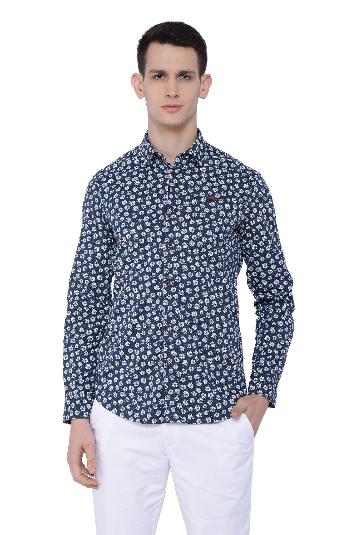 Risque 100 Percent Cotton Navy Prints Shirt