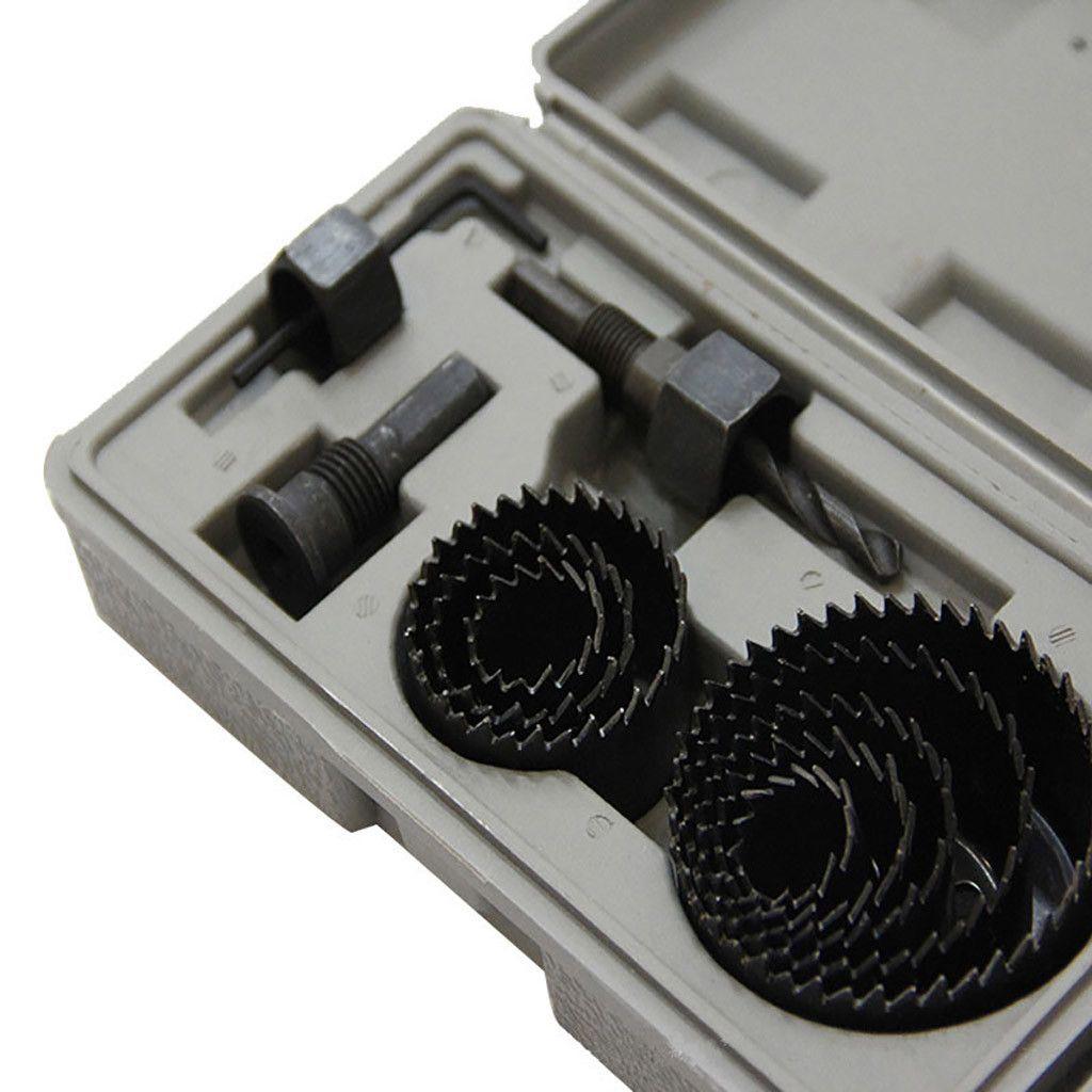 "11Pcs Hole Saw Drill Bit Kit Set Mandrel Wood Sheet Metal Plastic 3//4/"" to 2 1//2/"""
