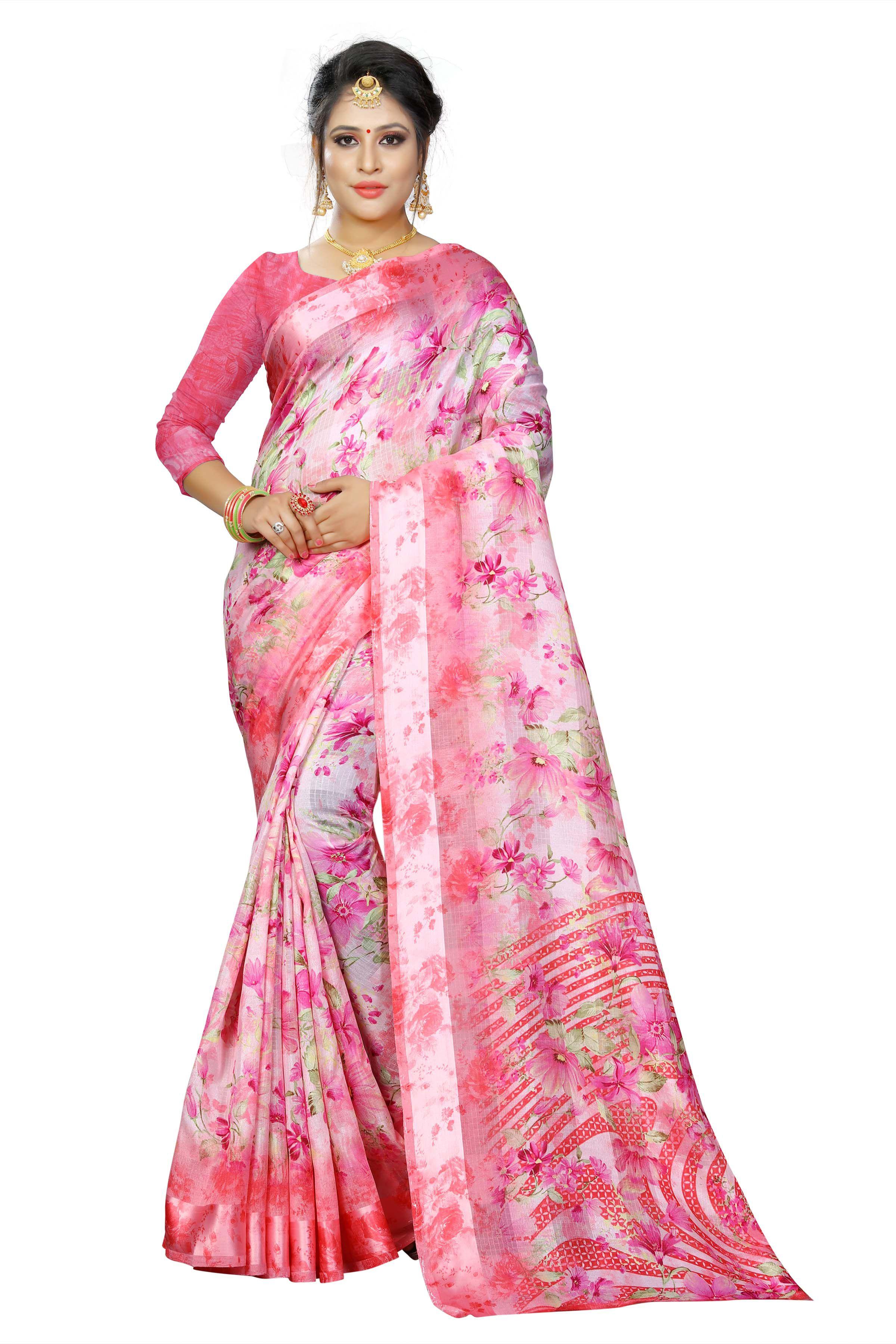 Manvaa Pink Cotton Silk Saree