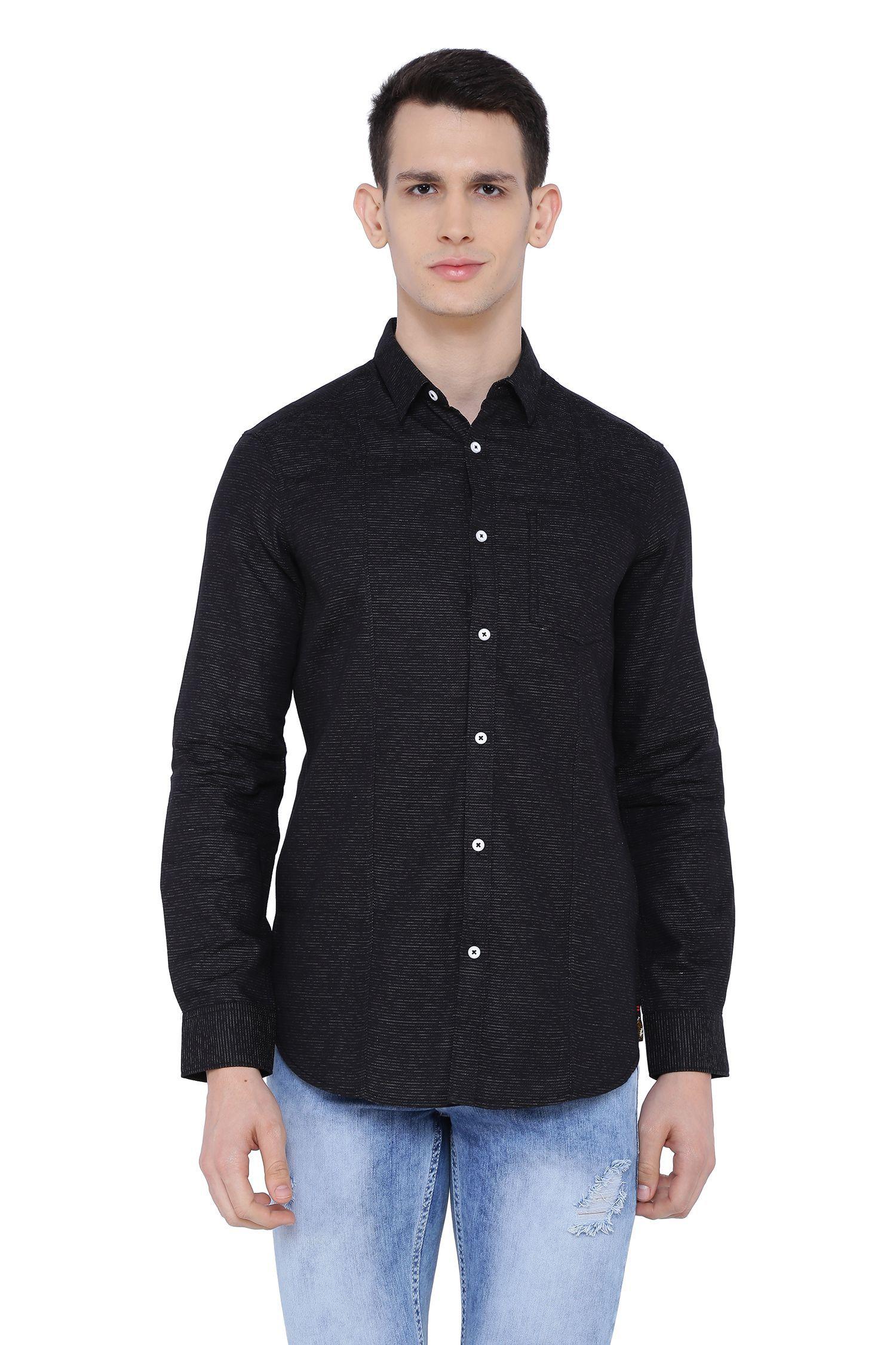 Risque 100 Percent Cotton Black Solids Shirt