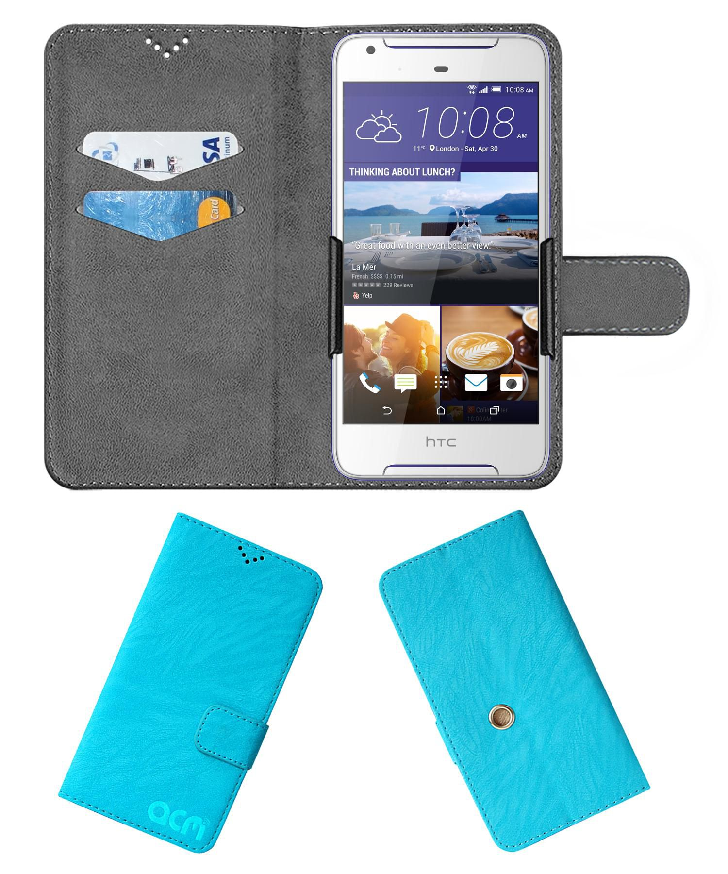 HTC Desire 628 Flip Cover by ACM - Blue Clip holder to hold your mobile securely
