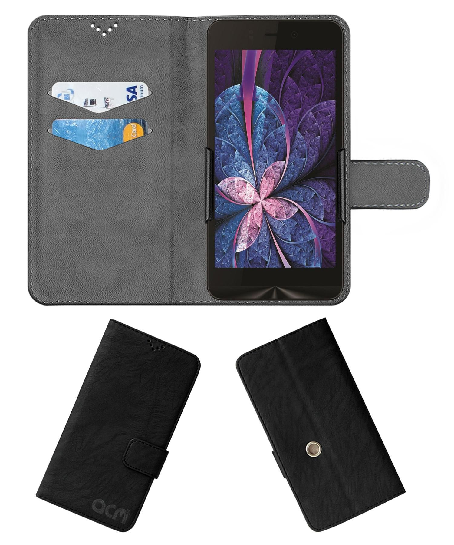 Intex Aqua Ring Flip Cover by ACM - Black Clip holder to hold your mobile securely