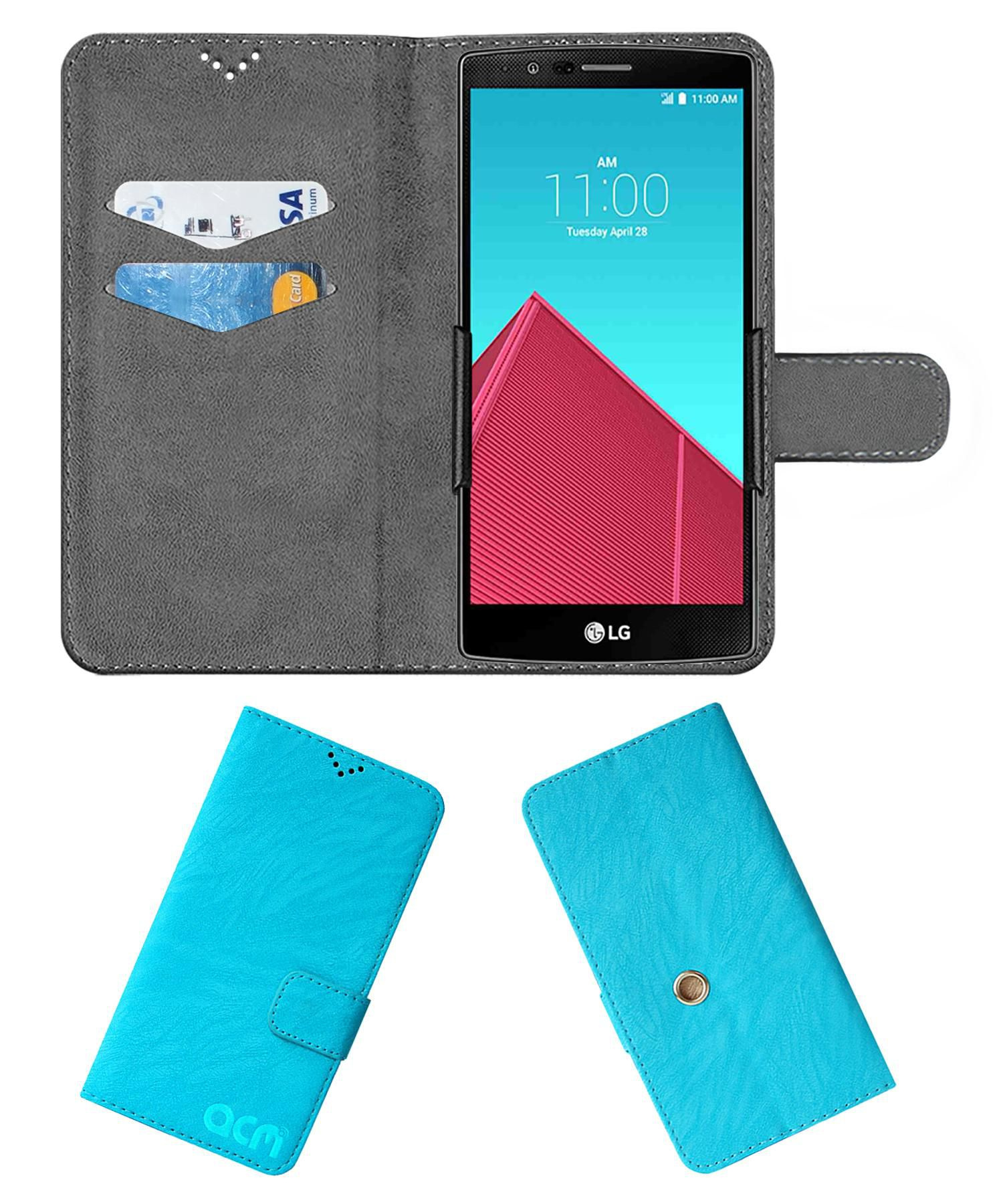 Lg G4 Flip Cover by ACM - Blue Clip holder to hold your mobile securely
