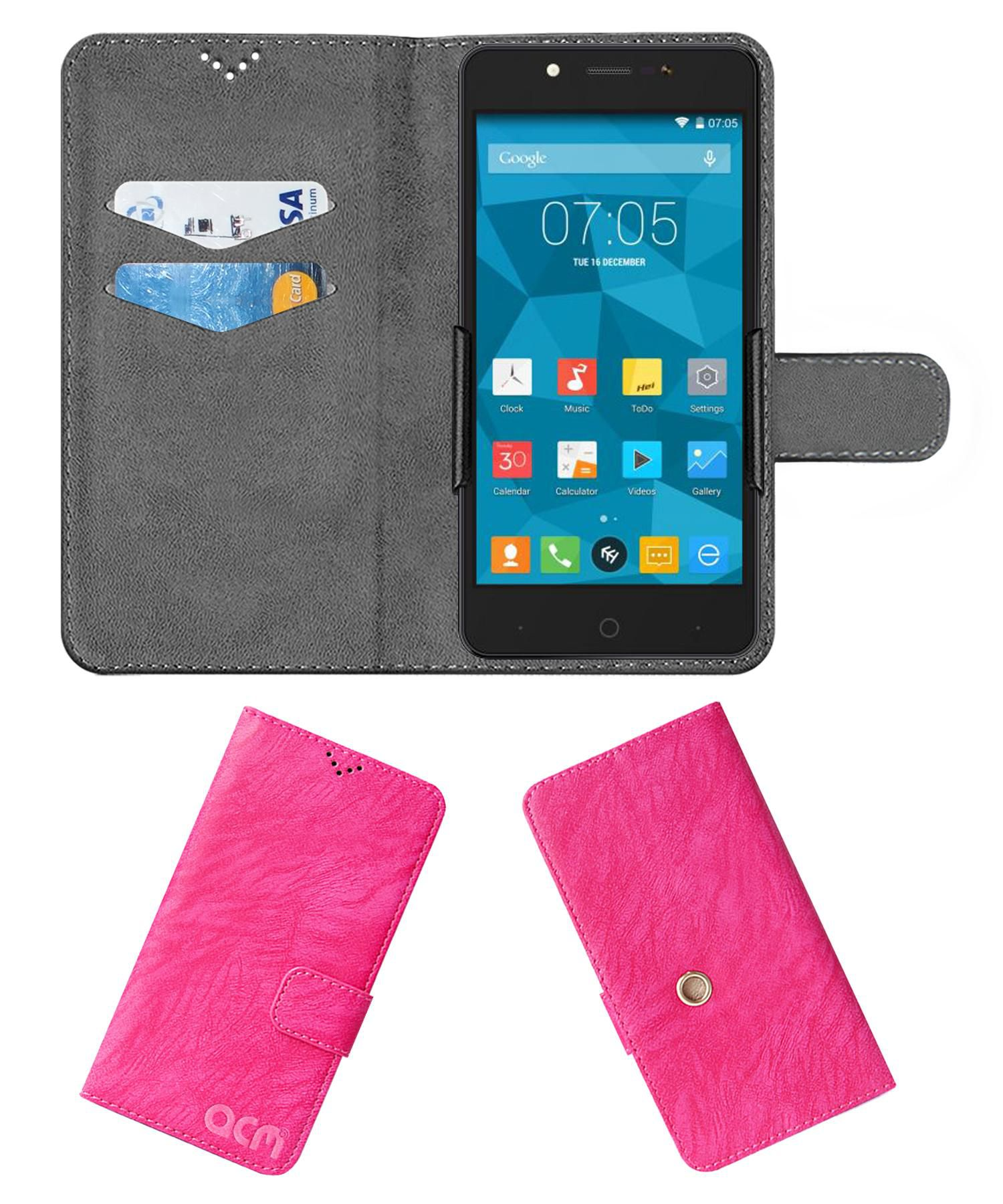 ZOPO COLOR E1 Flip Cover by ACM - Pink Clip holder to hold your mobile securely