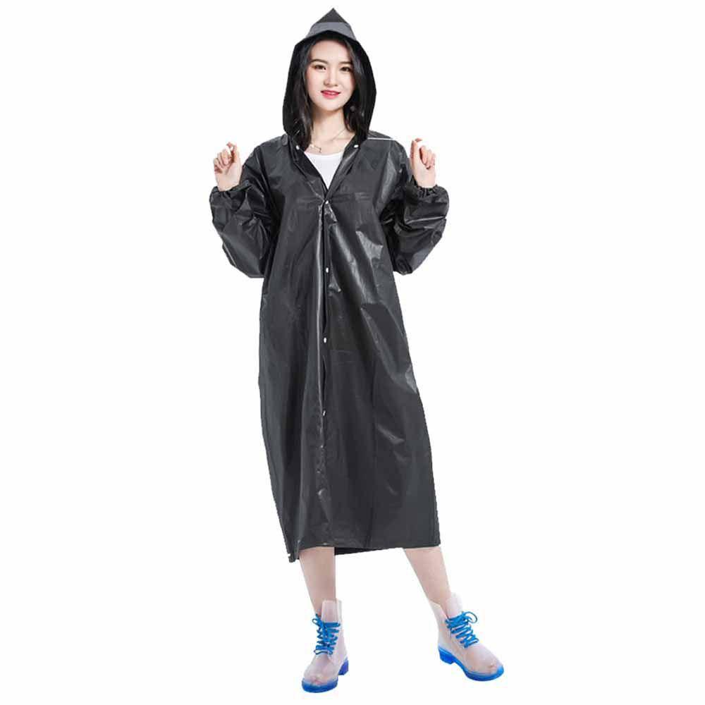 COCOSHOPE Women-Rain Wear Reusable Portable Raincoats for Adults EVA Travel Camping Walking Rain Jackets Breathable Rainwear with Hood Sleeves