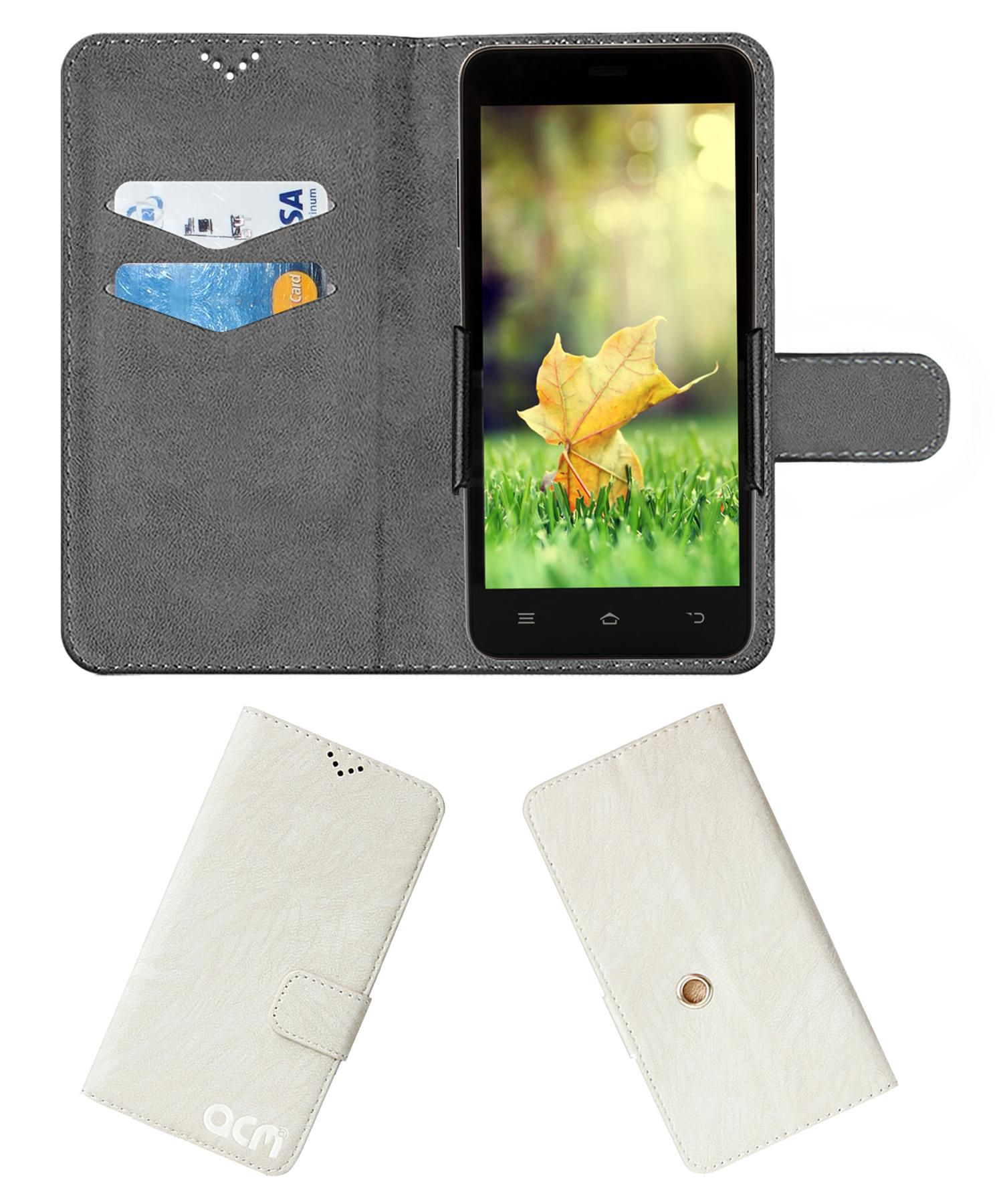Intex Aqua Sense 5.0 Flip Cover by ACM - White Clip holder to hold your mobile securely
