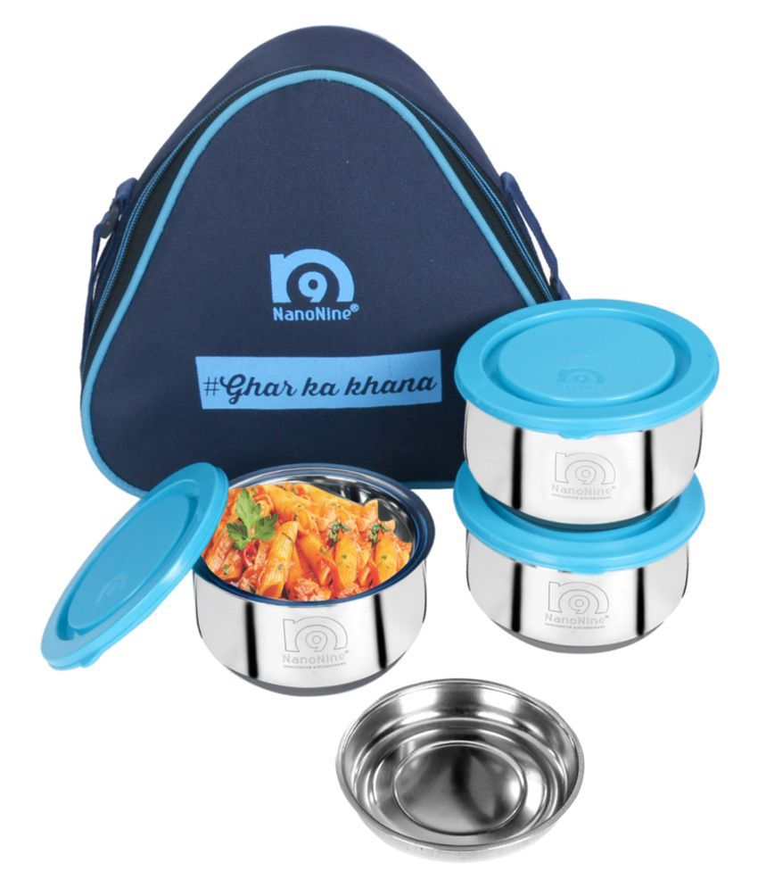 NanoNine Blue Stainless Steel Lunch Box